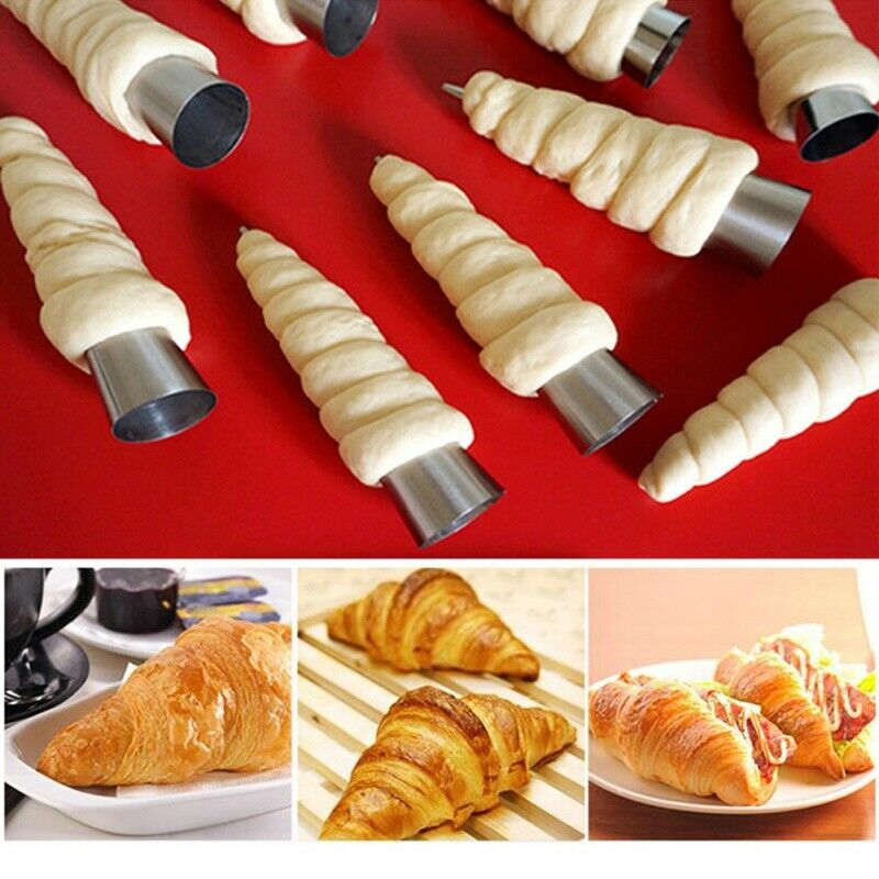 5/12Pcs Stainless Steel Pastry Molds Cream Horn Cone Shape Mould Bread Baking . 6