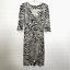 miniature 1 - Diane von Furstenberg Silk Dress Sz 2 Zebra Print 3/4 Sleeve V Neck Sheath