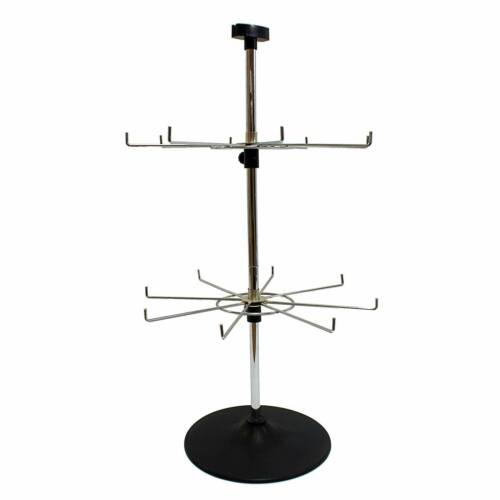 16 Hook Rotary 2 Tiered Adjustable Counter Top Shop Display Lanyard Stand J4