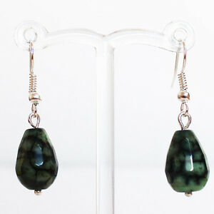 Hand-Crafted-Green-Agate-Stone-Earrings-with-Silver-Hook