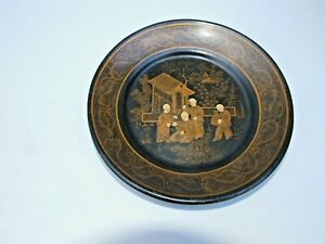 Antique-Chinese-Paper-Mache-Black-Lacquer-Small-Plate-Gold-Painted-Temple-Scene