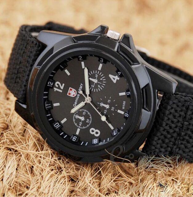 Men's Round Dial Nylon Strap Band Men Boys Military Army Quartz Wrist Watch Gift