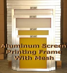 "2 Pack -20"" x 24""Aluminum Screen Printing Screens With 255Yellow Mesh Count"