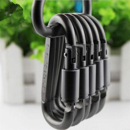 6 PC Aluminum Carabiners D-Ring Key Chain Clip Snap Hook Karabiner Camping Key