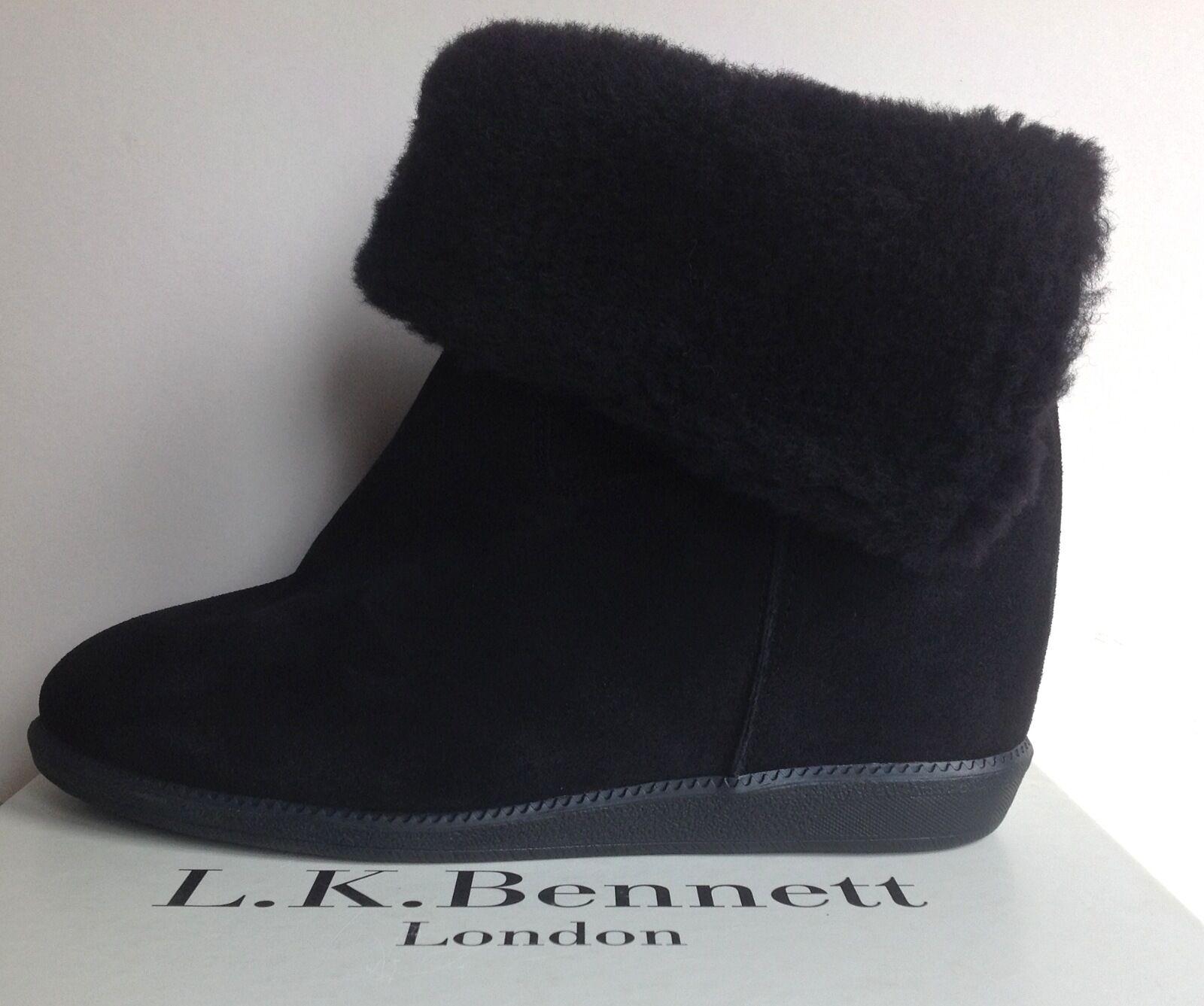 Nuevo fue  LK Bennett EU41:/8 Camente Gamuza Negra De Cuña Oculta/Shearling
