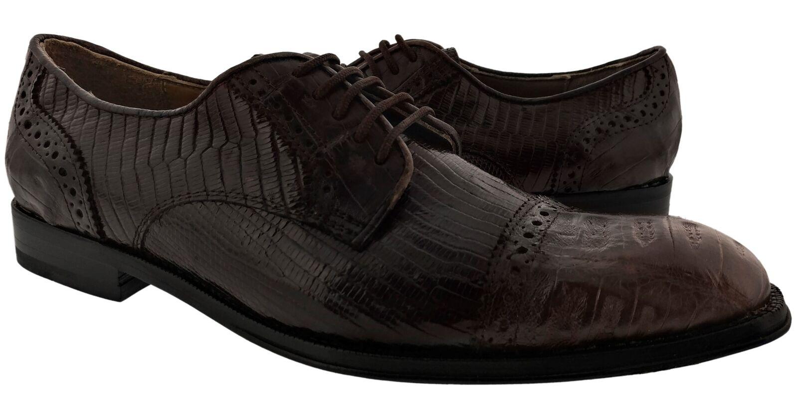 Uomo Brown Genuine Lizard Exotic Crocodile Exotic Dress Shoes Oxford
