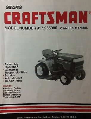 details about sears craftsman riding gt6000 lawn garden tractor owner &  part manual 917 255980