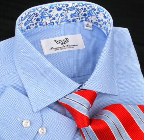 Blue Paisley 7 Striped Checkered Men's Formal Dress Business Shirt Boss Design