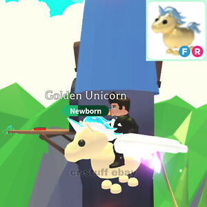 Adopt Me Roblox Golden Unicorn Fly And Ride Ebay