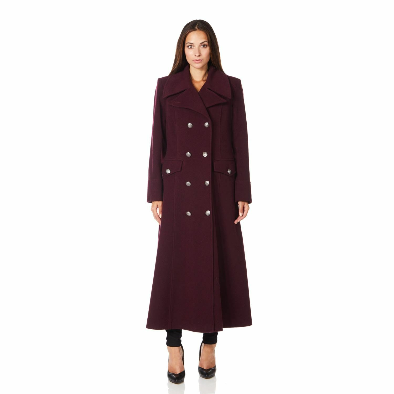 De La Creme - Womens Burgandy Long Military Wool Cashmere Winter Coat