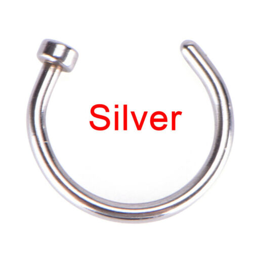 Small Thin Surgical Steel Open Nose Ring Hoop Piercing Stud Body Jewelry $BSCA