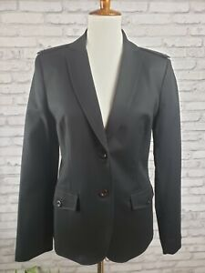 Calvin Klein size 10 fitted black blazer with epaulets original tags