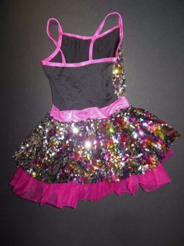 NEW Sequin Skirted Dance Costume w//petticoat Foil Rasberry w//hdpce Girls Sizes