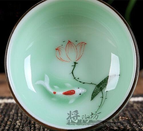 Boutique celadon tea cup Goldfish four seasons lotus design ceramic tea set