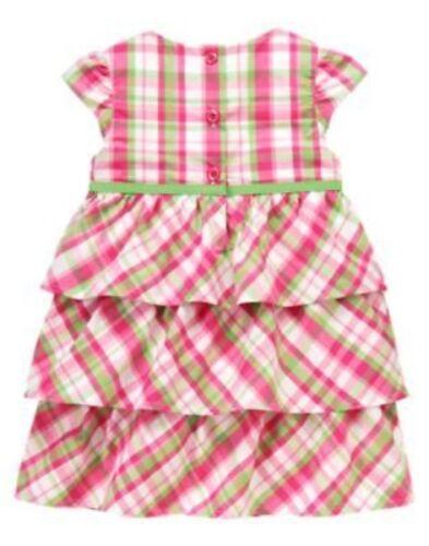 GYMBOREE BRIGHT TULIP PINK PLAID TIERED DRESS 12 18  24 2T 3T 4T 5T NWT