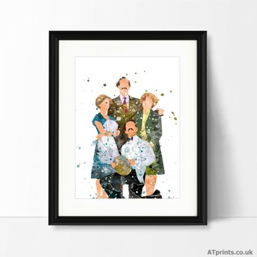 FAWLTY TOWERS Print Poster Watercolour Framed Canvas Wall Art Gift idea TV