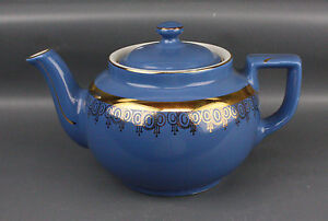 Hall Teapot Boston Shape Beautiful Dresden Blue With Gold