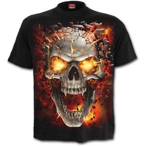 Spiral-Direct-SKULL-BLAST-T-Shirt-Death-Flames-Horror-Metal-Biker-Rock-Tee