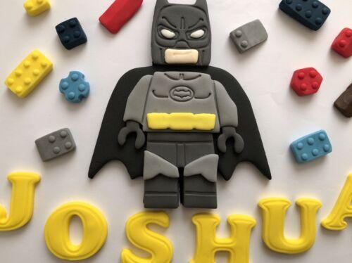 Edible Hand Made Bithday 5 Inch Hight Name /& Age Batman Lego Cake Topper
