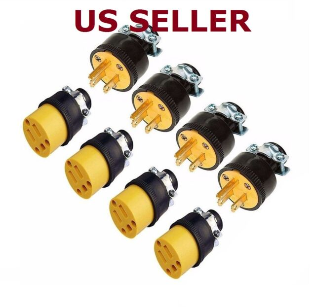 US SHIP 8 Extension Cord Replacement Ends 4 MALE 4 FEMALE Plug Electrical Repair