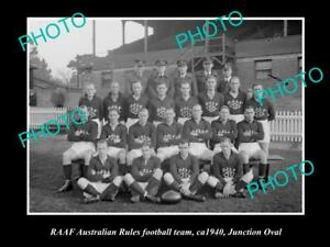 OLD-POSTCARD-SIZE-PHOTO-OF-RAAF-AIR-FORCE-FOOTBALL-TEAM-c1940-JUNCTION-OVAL