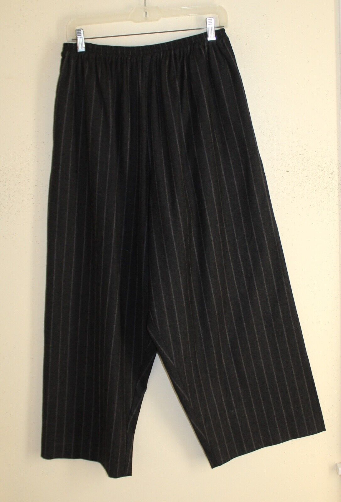 Eskandar -Sz 2 EXQUISITE Charcoal Striped Wool Flannel Japanese Trousers Pants