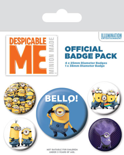DESPICABLE ME MINIONS BELLO 5 PACK OF BADGES NEW 100 /% OFFICIAL MERCHANDISE