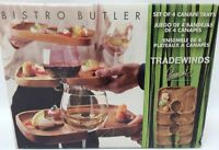 Tradewinds Bistro Butler Acacia Wood Wine Holder Appetizer Tray Plates Set Of 4