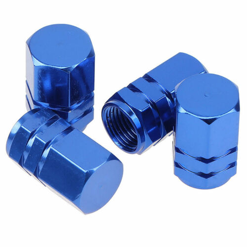 4PCS Blue Aluminum Tubeless Car Auto Wheel Tire Valve Stem With Dust Cap Set New