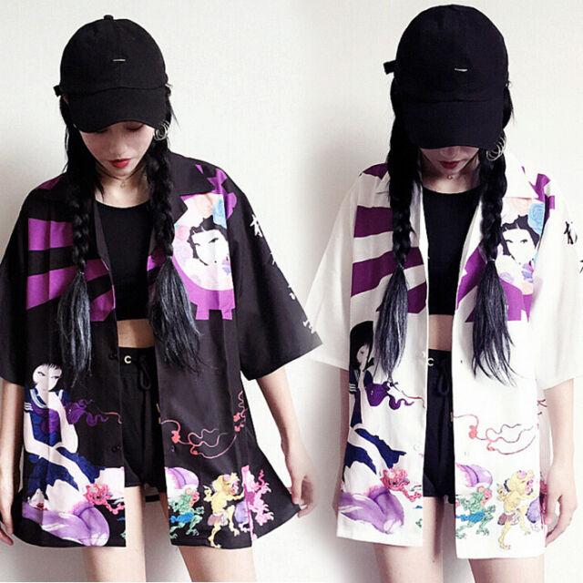 Japanese Style Vintage Preppy Style Harajuku Loose Summer Thin Print Jacket Coat