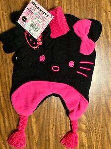 Hello-Kitty-Little-Girls-Toddler-Kids-Winter-Beanie-Flap-Mitten-Hat-Glove-Set