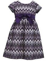 Girls Bonnie Jean Sz 6x Purple Lurex Lace Chevron Dress Fall Holiday Clothes