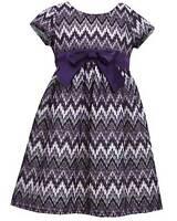 Girls Bonnie Jean Sz 6x Purple Lurex Lace Chevron Dress Fall Holiday Clothes