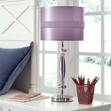 Ashley Signature Design Nyssa Table Lamp With Drum Shade In Purple And  Silver