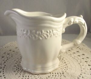 JC-Penny-China-Creamer-VINTAGE-IVORY-Pattern-Creamy-White-Excellent-Condition