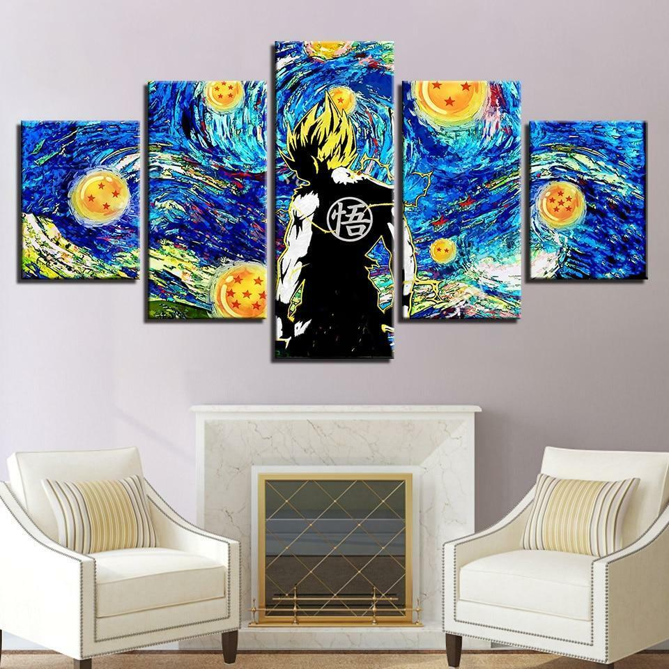 Dragon Ball Z Cartoon Framed 5 Piece Canvas Wall Art
