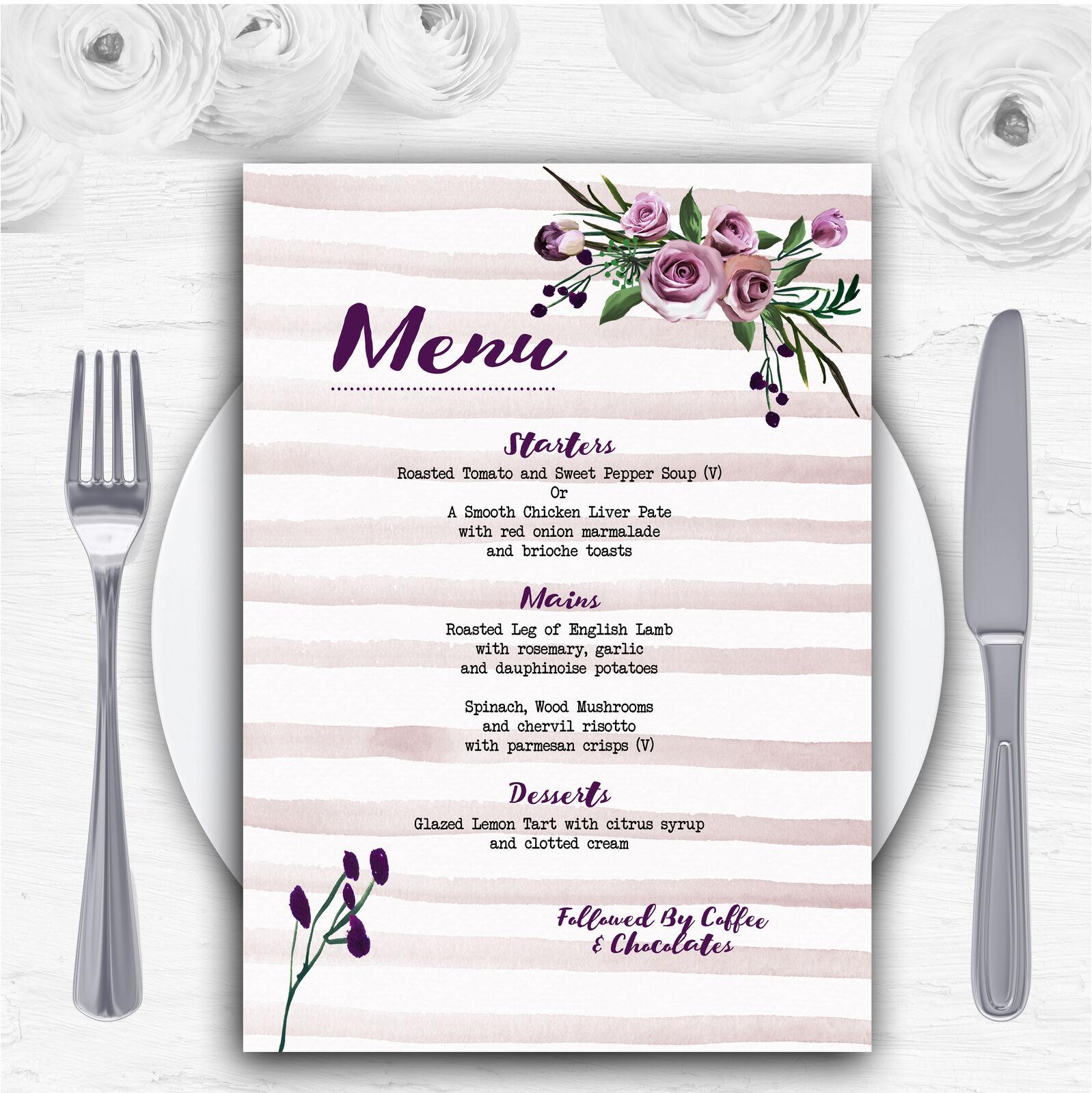 Watercolour Stripes lila Personalised Wedding Menu Cards