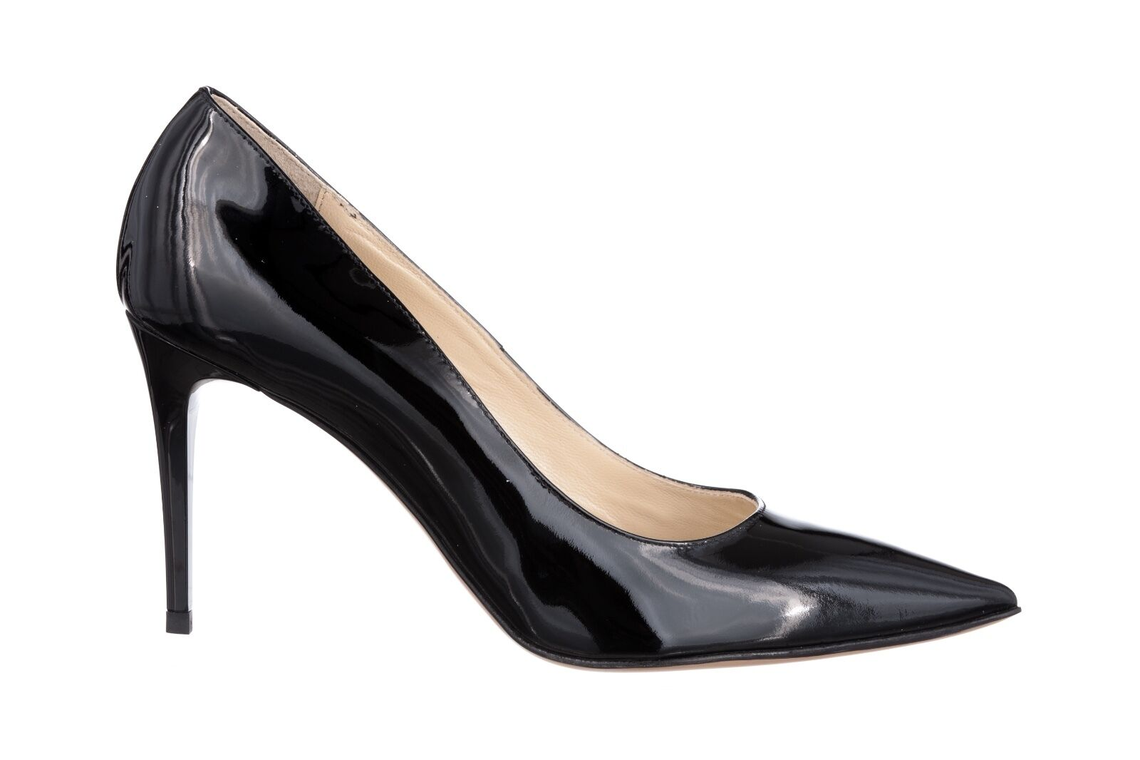 MORI MADE IN ITALY POINTY HIGH HEELS PUMPS DECOLTE SCHUHE LEATHER BLACK black 37