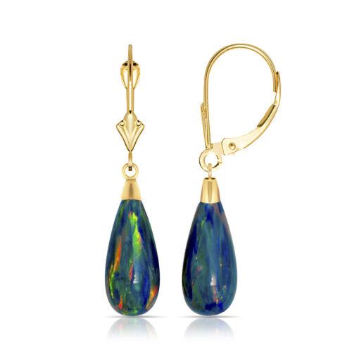 14K Or Jaune Larme en Forme de Bleu foncé opale de feu Levier Arrière Dangle Earrings