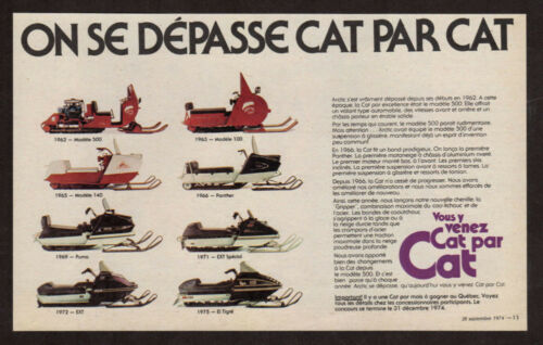 1975 ARTIC CAT Snowmobile Vintage Original Print AD 1962 to 1975 Canada French