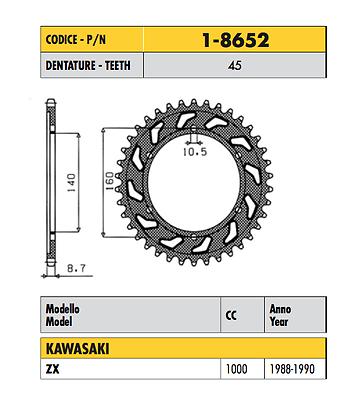 1-8652 - Corona Passo 532 Kawasaki Zx 1000 1988 1989 1990