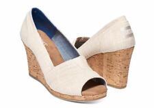TOM'S Natural Linen Cork Classic Wedges Women's Sandals Sz 12 M