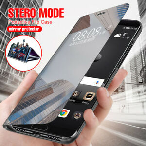 For-Huawei-Nova-3i-360-Shockproof-Flip-Smart-Case-Clear-View-Mirror-Stand-Cover