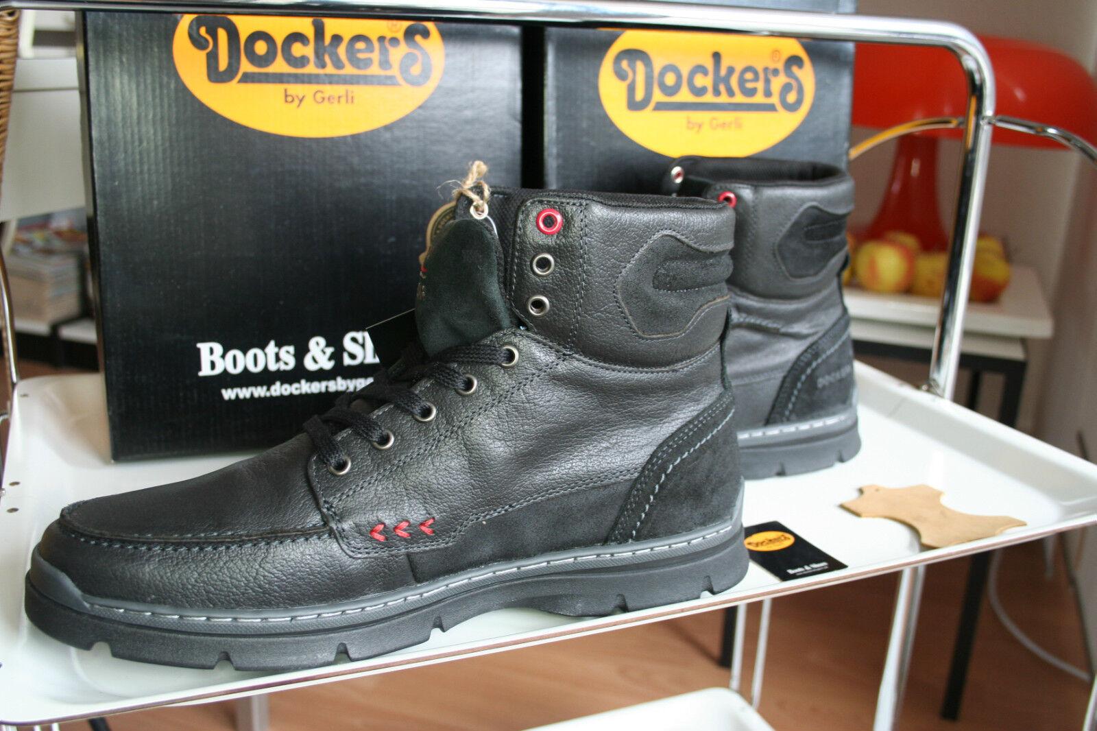 DOCKERS   Neu echtes  Leder gefettet black asfalt  echtes USEDSTYLE Gr 45 97ecc9