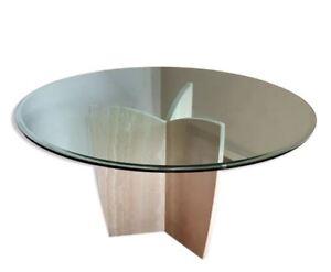Table ronde 6 personnes Artelano marque Italie - marbre plateau verre
