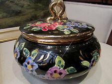 ancienne grande bonbonniere ceramique monaco signée pugi decor floral vintage