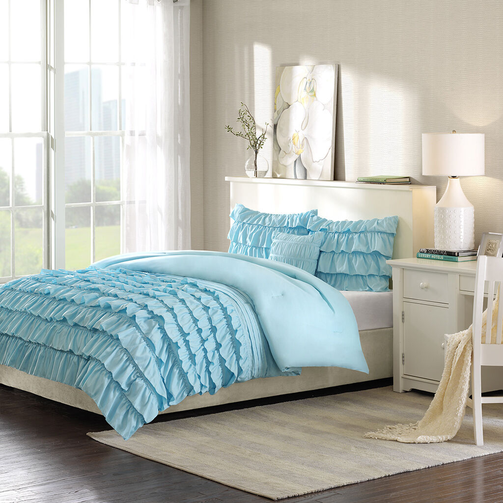 BEAUTIFUL TEAL Blau LIGHT AQUA SOFT MODERN TEEN GIRL RUFFLED RUCH COMFORTER SET