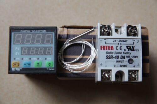 PT100+40A DA SSR F//C Manual// Auto-tuning PID Temperature Controller TD4-SSR