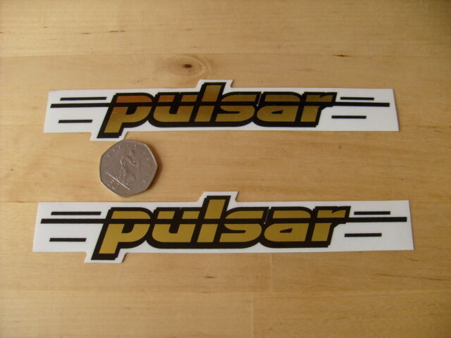 PULSAR 'pulsar' BMX / MTB DECAL -Gold n Black-Self Adhesive- A PAIR Freepost UK