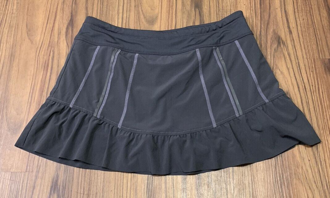 Athleta athletic skirt Blue skort shorts Size 12 zipper pocket running tennis
